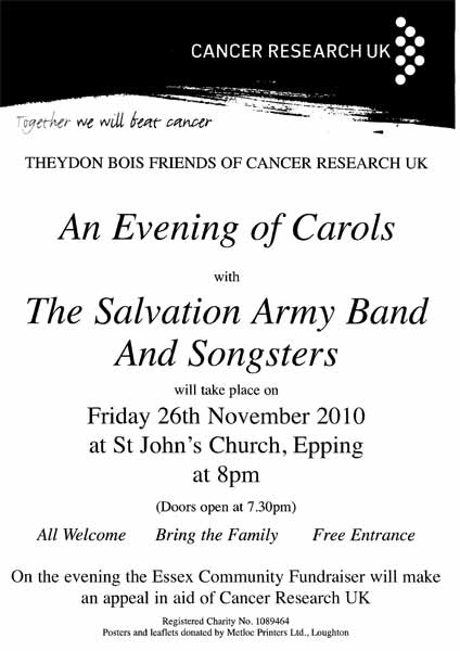 Cancer Research Carol Concert Poster