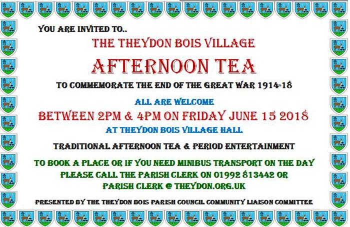 Parish Council Afternoon Tea poster