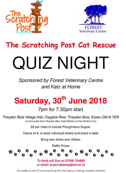 Cats Charity Quiz Night poster