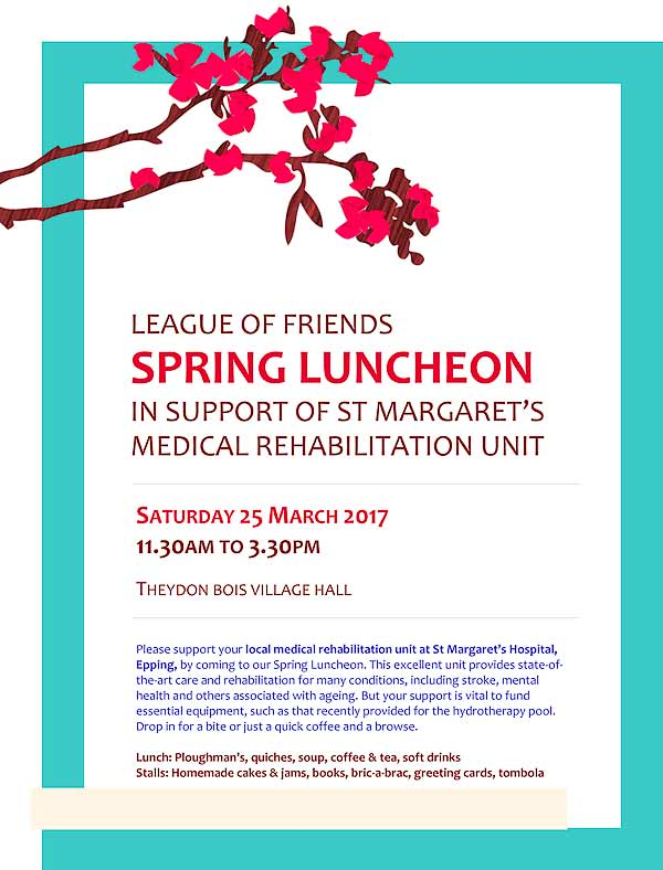 St Margarets Hosital Lunch Poster 170325