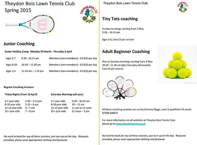 Theydon Bois Tennis Club Coaching sessions