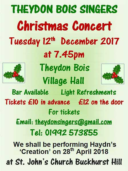 Theydon Singers Xmas Concert poster