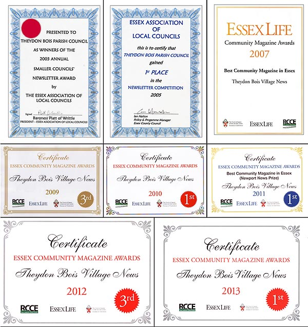 Village News Certificates 2003 - 2013