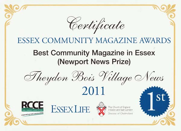 Village News Award Certificate